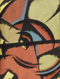 Fine Art - Painting, European:Modern  (1900 1949)  , LUIBOV POPOVA (Russian 1889-1924). Untitled. Oil and gouache on paper. 8-1/2 x 6-1/4 inches (21.6 x 15.9 cm)...