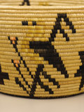 Native American:Pottery and Baskets, Panamint Pictorial Basket by Mary Wrinkle. Circa 1935. Height 4 1/2in. Diameter 7 3/4 in.. This tightly coiled polychrome...
