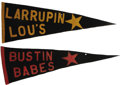 Baseball Collectibles:Others, 1927 Bustin Babes & Larrupin Lou's Barnstorming Pennants Lot of2. Most pennant collectors wouldn't even dare to dream of f...
