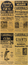 Baseball Collectibles:Others, 1937 St. Louis Cardinals Broadsides Lot of 4. Quartet of unusedbroadsides announcing various Cards games are matted and fr...