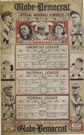Baseball Collectibles:Others, 1914 St. Louis Baseball Schedules Sign. Magnificent rarity announces the schedules of the city's National, American and Fed...
