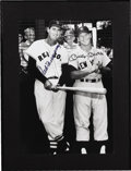 Autographs:Photos, 1980's Ted Williams & Mickey Mantle Signed Large Photograph. With young Fenway fans jockeying for a peek behind them, the S...