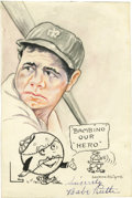 Autographs:Others, Circa 1932 Babe Ruth Signed Original Artwork. Skillfully renderedwatercolor portrait of the game's greatest figure, comple...