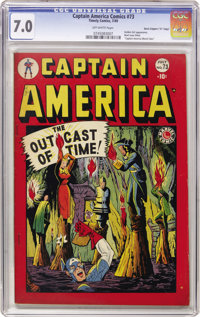 """Captain America Comics #73 Davis Crippen (""""D"""" Copy) pedigree (Timely, 1949) CGC FN/VF 7.0 Off-white pages. The..."""