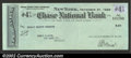 Miscellaneous:Checks, 1929 Check from the Chase National Bank, New York, NY, XF. ...