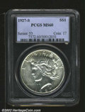 "Peace Dollars: , 1927-S $1 MS60 PCGS. The latest Coin World ""Trends"" price ..."