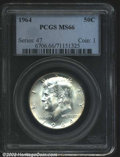 "Kennedy Half Dollars: , 1964 50C MS66 PCGS. The latest Coin World ""Trends"" price is $..."