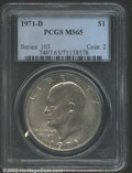 """Eisenhower Dollars: , 1971-D $1 MS65 PCGS. The latest Coin World """"Trends"""" price is ..."""