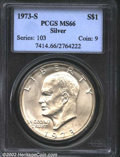 "Eisenhower Dollars: , 1973-S $1 Silver MS66 PCGS. The latest Coin World ""Trends"" ..."