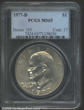"""Eisenhower Dollars: , 1977-D $1 MS65 PCGS. The latest Coin World """"Trends"""" price is ..."""