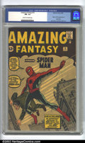 Silver Age (1956-1969):Superhero, Amazing Fantasy #15 (Marvel, 1962) CGC FN+ 6.5 Cream to off-white pages. Here is the ultimate Marvel key in nice condition. ...