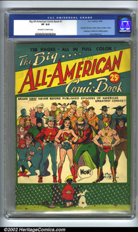 Big All-American Comic Book #1 (DC, 1944) CGC VF 8.0 Off-white to white pages. Joe Kubert art. Wonder Woman, Flash, Gree...