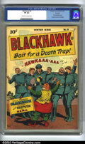 Golden Age (1938-1955):War, Blackhawk #9 Rockford pedigree (DC, 1944) CGC VF 8.0 Cream to off-white pages. First Blackhawk issue. Formerly Uncle Sam Qua...