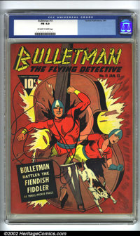 Bulletman #11 (Fawcett, 1943). CGC FN 6.0 Off-white to white pages. Overstreet 2002 FN 6.0 value = $177