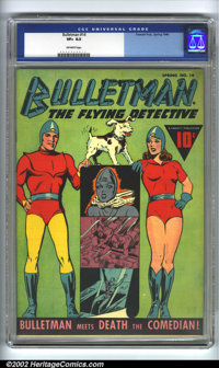 Bulletman #14 (Fawcett, 1946). CGC VF+ 8.5 Off-white pages. Overstreet 2002 VF 8.0 value = $369