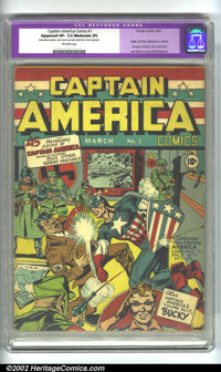 Captain America Comics #1 (Timely, 1941). CGC Apparent VF- 7.5 Moderate (P) Off-white pages. Restoration includes: color...