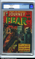 Golden Age (1938-1955):Horror, Journey Into Fear #13 (Superior, 1953). CGC VG- 3.5 Off-whitepages. Overstreet 2002 GD 2.0 value = $25; FN 6.0 value = $75....