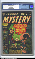 Golden Age (1938-1955):Horror, Journey into Mystery #4 (Atlas, 1952). CGC FN+ 6.5 Off-white towhite pages. Overstreet 2002 FN 6.0 value = $231....