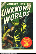 Golden Age (1938-1955):Science Fiction, Journey into Unknown Worlds #56 (Atlas, 1957) Condition: GD/VG.Classic post-cod sci-fi horror. Small piece of tape inside f...