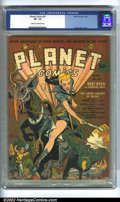 Golden Age (1938-1955):Science Fiction, Planet Comics #21 (Fiction House, 1942). CGC VF- 7.5 Cream tooff-white pages. Overstreet 2002 VF 8.0 value = $869....