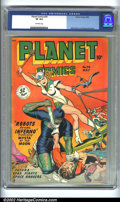 Golden Age (1938-1955):Science Fiction, Planet Comics #54 (Fiction House, 1948) CGC VF 8.0 Off-white pages.Matt Baker and George Evans art. Overstreet 2002 VF 8.0 ...