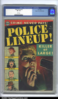 Golden Age (1938-1955):Crime, Police Line-Up #3 Mile High pedigree (Avon, 1952). CGC VF- 7.5 White pages. Overstreet 2002 VF 8.0 value = $116....
