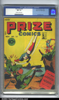 Golden Age (1938-1955):Superhero, Prize Comics #25 Mile High pedigree (Prize, 1942). CGC NM- 9.2 Off-white to white pages. Overstreet 2002 NM 9.4 value = $285...