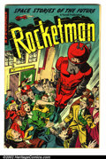Golden Age (1938-1955):Science Fiction, Rocketman #1 (Farrell, 1952). Condition: VG. Bottom staple pulled,tape repair on inside back cover....