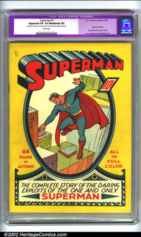 Superman #1 (DC, 1939) CGC VF 8.0 Moderate (P) White pages. Restoration includes: color touch, tear seals, spine splits...