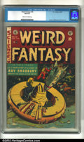 Golden Age (1938-1955):Science Fiction, Weird Fantasy #18 (EC, 1953). CGC FN 6.0 Cream to off-white pages.Overstreet 2002 FN 6.0 value = $87....