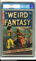 Golden Age (1938-1955):Science Fiction, Weird Fantasy #21 (EC, 1953). CGC FN 6.0 Off-white pages.Overstreet 2002 FN 6.0 value = $129....