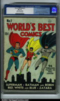 Golden Age (1938-1955):Superhero, World's Best Comics #1 (DC, 1941). CGC FN- 5.5 Cream to off-white pages. 1 piece of tape on first page. Fred Ray cover; only...