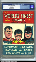 Golden Age (1938-1955):Superhero, World's Finest Comics #2 (DC, 1941) CGC VG+ 4.5 Cream to off-white pages. Overstreet 2002 GD 2.0 value = $423; FN 6.0 value ...