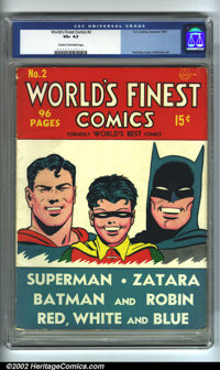 World's Finest Comics #2 (DC, 1941) CGC VG+ 4.5 Cream to off-white pages. Overstreet 2002 GD 2.0 value = $423; FN 6.0 va...