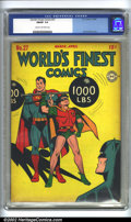 Golden Age (1938-1955):Superhero, World's Finest Comics #27 (DC, 1947) CGC FN/VF 7.0 Cream to off-white pages. Jack Burnley cover. Robin lifts weights while B...