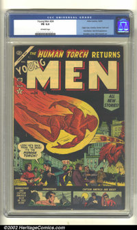Young Men #24 (Atlas, 1953). CGC FN 6.0 Off-white pages. Origin of Capt. America, Human Torch, and Sub-Mariner. Red Skul...