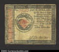 Colonial Notes:Continental Congress Issues, January 14, 1779, $4, Continental Congress Issue, CC-90, VF+. ...