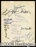 Autographs, The Andy Griffith Show Cast Signed Sheet