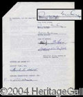 Autographs, Irving Berlin Signed Contract