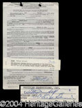 Autographs, Ward Bond Rare Signed Document