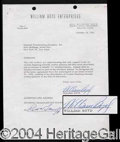 Autographs, William Boyd Signed Document