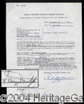 Autographs, Sammy Davis, Jr. Signed Tonight Show Contract