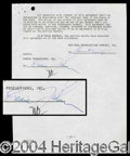 Autographs, Eddie Fisher Signed Document