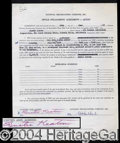 Autographs, Buster Keaton Signed Document