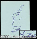 Autographs, Vincent Price Signed Self Caricature