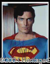 Christopher Reeve Signed Superman Photo - 8 x 10 glossy color photograph of Reeve as Superman, boldly signed in blue fel...