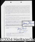 Autographs, James Stewart Signed Document
