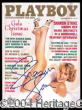 Autographs, Sharon Stone December 1992 Playboy Signed