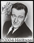 Autographs, John Wayne Rare Signed 8 x 10 Photo