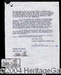 Autographs, Jack Webb Signed Document